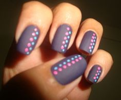 Dots. Not usually a fan of the print nails...but I love this with the matte finish polish!
