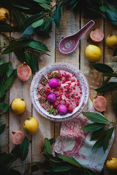 guava, coconut cream and raspberry smoothie bowl by claire gun