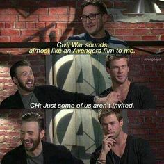 IS INVITED Captain America: Civil War is an Avengers movie, but with out Chris Hemsworth.Captain America: Civil War is an Avengers movie, but with out Chris Hemsworth. Marvel Jokes, Funny Marvel Memes, Dc Memes, Avengers Memes, Marvel Dc Comics, Funny Memes, Hilarious, Hulk Funny, Thor Marvel