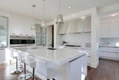 White Kitchen Ideas Design Wallpaper Title Interior With Wonderful Image Design With Awesome White Kitchen Table And Unique Arched Faucet Also Four White Chair Plus Charming Wooden Floor And Three Chrome Pendant Lamp Amazing For White Kitchen Design Ideas