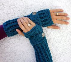 Teal long ribbed with wrist strap crochet button by ValkinThreads