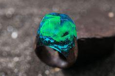 Aurora Borealis wood resin ring Eco epoxy jewelry Green Wood