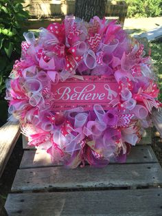 "30"" Breast Cancer Awareness Deco Mesh & Burlap Wreath by Okie Girl Decor"