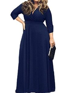 POSESHE Women s Solid V-Neck 3 4 Sleeve Plus Size Evening Party Maxi Dress c2e3a32c1