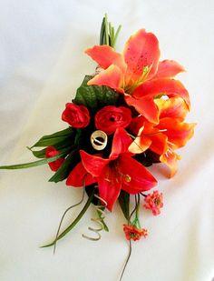 Tangerine Wedding Flowers Orange Bouquet Tiger by AmoreBride, $49.00