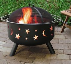 Big Sky Stars and Moons Firepit / If you're looking for a portable outdoor firepit that you can move around easily on your patio or deck, then the Big Sky Stars and Moons Firepit is a prime contender. http://thegadgetflow.com/portfolio/big-sky-stars-moons-firepit/