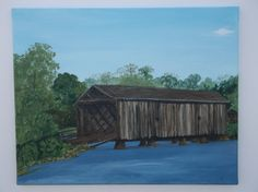 Covered Bridge original painting on canvas by Driftinn on Etsy, $147.50