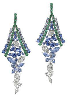 Avakian emerald, diamond and sapphire earrings