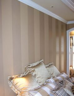 Polyurethane wall stripes  Would love to do this in a room in my house