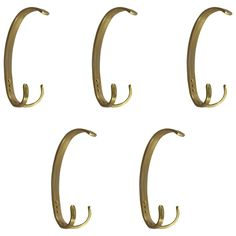 Set of Five Mid-20th Century Brass Coat Hooks, Vienna, 1950 | See more antique and modern Coat Stands at https://www.1stdibs.com/furniture/more-furniture-collectibles/coat-stands