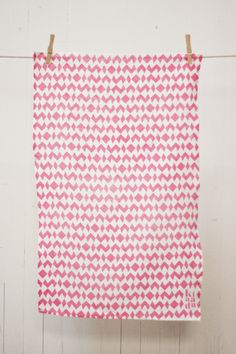 Pink Geometric Tea Towel
