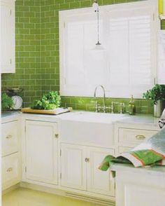 Pretty #lime #green #backsplash