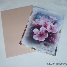"""Carte double 10,5x15cm réalisée à partir d'une photo de fleurs de prunus """" bouquet printanier"""""""
