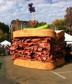 """Giant"" Sandwich sculpture by Endless Design - location: Clifton, NJ Pastrami Sandwich, Sandwiches, Food Sculpture, Garden Sculptures, Roadside Attractions, Roadside Signs, All I Ever Wanted, Outdoor Art, Public Art"