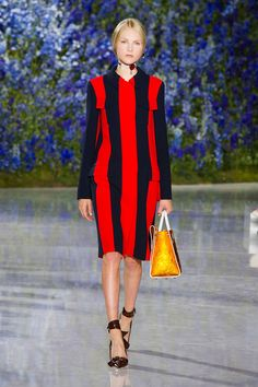 The stripe story for spring is all about coloring between the lines, indeed. Bold, layered shades lend even more interest to this graphic tale.  Pictured: Christian Dior   - HarpersBAZAAR.com