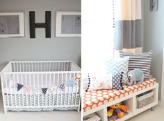 LOVE the banner on the crib and the IKEA book shelf turned on it's side (legs added) for storage and seating!