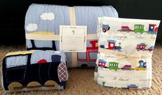 POTTERY BARN KIDS RYDER TRAIN FULL QUILT + SHAM + SHEET SET NEW BOYS ROOM