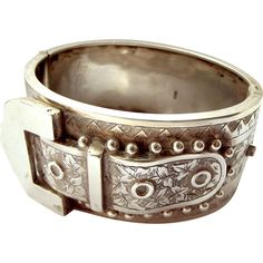 RARE Antique Victorian 1885 Sterling Silver BUCKLE Bracelet Buckle from m4gso on Ruby Lane