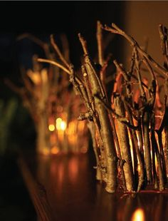 DIY Twig luminaries.