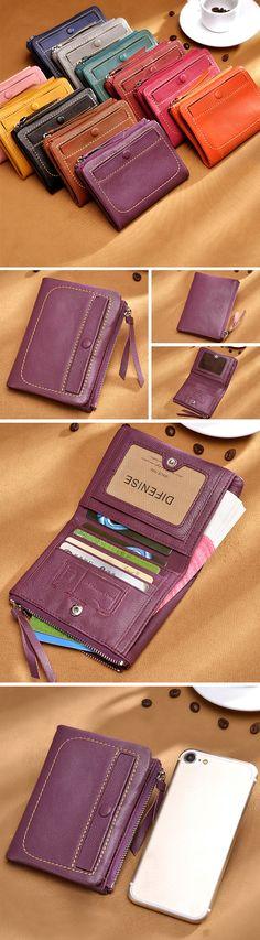 US$25.59 Women Genuine Leather Card Holder Wallet High-end Purse #LeatherCardHolder #SmallWallets