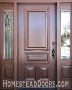Solid Mahogany Custom Made Front Door With Sidelites   Traditional   Front  Doors   Other Metro   Homestead Doors, Inc.