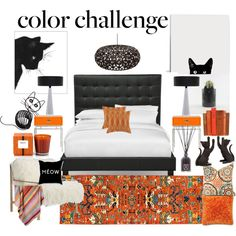 orange and black cat bedroom by kc-spangler on Polyvore featuring interior, interiors, interior design, home, home decor, interior decorating, Axel, David Trubridge, KASA and Loloi Rugs