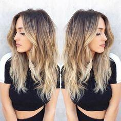 Blonde Balayage Hairstyle - Dark Brown to Blonde