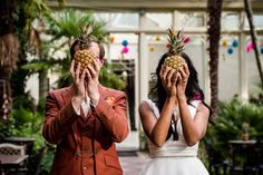 Yasmin and Stuart's Bright and Colourful Pineapple Filled Hampton Court Wedding by Mona ...