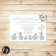 Baby Makes Three Bike Bicycle Baby Shower by HewittAvenue on Etsy