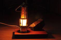 RARE Vintage Coal Miner Night Desktop Lamp Brass 220V Mining Carbide Miners