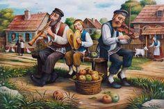 Morning Melody / Boris Shapiro - AHAVART Ellie Wiesel, Arte Judaica, Limited Edition Prints, Giclee Print, Art Gallery, Fine Art, Beryl Cook, Painting, Plays