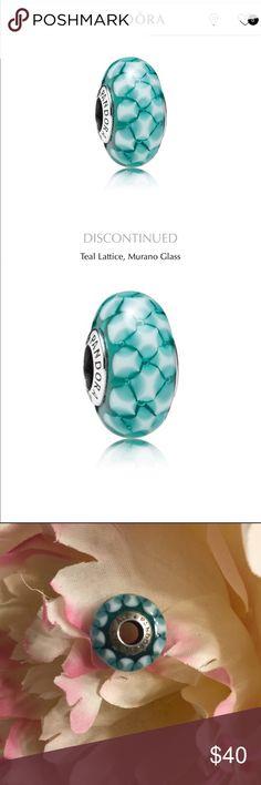 Pandora Teal Murano Glass Charm Pandora teal Lattice, murano glass, decorative silver charm. Pandora Jewelry