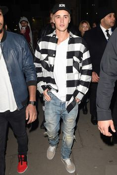 Justin Bieber wearing Dope Small Logo Snapback, Our Legacy Checked Flannel Shirt, En Noir En Noir EN-001 Jeans In Cobain Wash Denim, Vans Vans Unisex Authentic Sneaker
