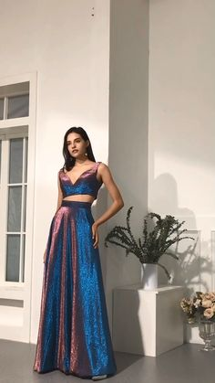 Piece prom dress - Two Piece Blue Long Prom Dresses V Neck Evening Dresses 2019 – Piece prom dress Grad Dresses Short, Prom Dresses Two Piece, Prom Dresses Blue, Two Piece Dress, Pretty Dresses, Beautiful Dresses, Formal Dresses, Maxi Dresses, Awesome Dresses