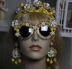 881  Lemon Designer Inspired Embellished Filigree Fancy Sunglasses