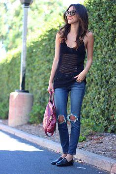 Gap tank, Rag & Bone jeans, Chanel loafers, Foley + Corinna bag