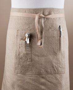 Linen Apron, Bistro Apron, Half Apron. 100% Linen. Natural Color.