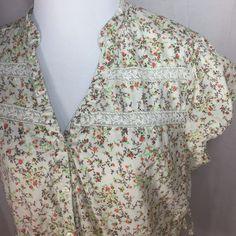 Decree Boho Peasant Floral Button Front V Neck Top Shirt Women's XL Extra Large   eBay