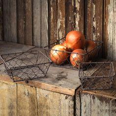Square Chicken Wire Baskets, Set of 3
