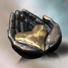 Heart in Hands Sculpture