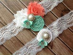wedding garter / Coral & Tiffany Blue / bridal  garter/  lace garter / toss garter / Something BLue wedding  garter / vinta