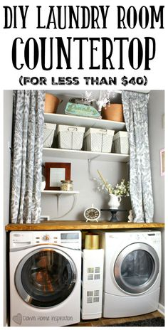 Adding a DIY laundry room countertop is an inexpensive way to change up the look of the entire room. Here is how I made my own for under $40.