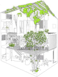 A21 Architects - Architect's own home and studio, Hochiminh City 2012. Via.
