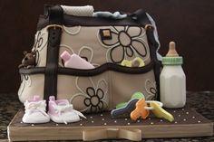Adorable diaper bag baby shower cake