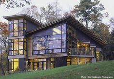 Designed by Birdseye Design: Glass & Steel- Colchester, VT. Members of the US Green Building Council, they work to create a variety of energy efficient homes - everything from solar to geothermal.