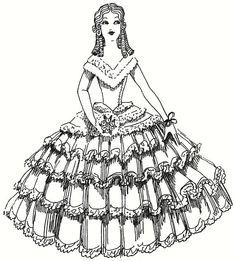E-Pattern Boudoir Cloth Doll Pattern From 1932 Crinoline Lady