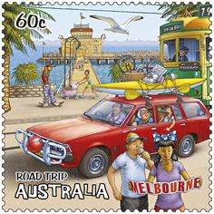 postage stamp from Australia - part of a series featuring an Australian road-trip - this one is the city of Melbourne Bus Art, Postage Stamp Art, First Day Covers, Victoria Australia, Mail Art, Stamp Collecting, Travel Posters, Vintage Posters, New Zealand