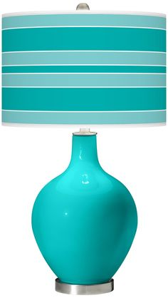 Turquoise Bold Stripe Ovo Table Lamp | LampsPlus.com