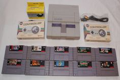 Super Nintendo Console Lot 2 Controllers 10 Games Super Mario World SNES Clean #Nintendo