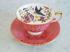panese teacup and saucer set   ... Pink Teacup and Saucer Set, Aynsley Fuchsia Bird Tea Cup and Saucer